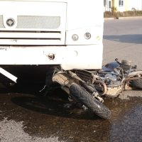 Truck hits motorcycle